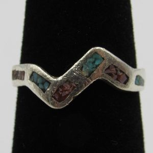 Vintage Size 4.5 Sterling Turquoise & Coral Ring